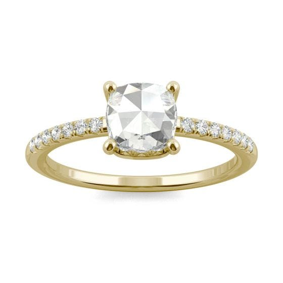 0.78 CTW DEW Cushion Forever One Moissanite Engagement with Hidden Accents Ring 14K Yellow Gold