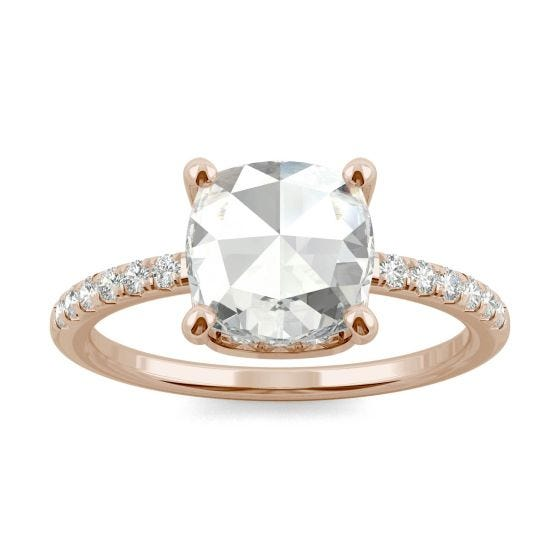 1.64 CTW DEW Cushion Forever One Moissanite Engagement with Hidden Accents Ring 14K Rose Gold