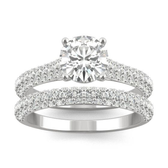 2.38 CTW DEW Round Forever One Moissanite Micro Pave Ring 14K White Gold