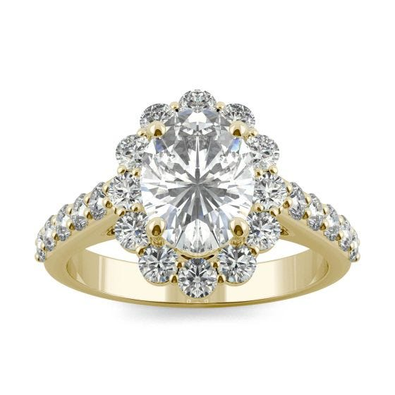 2.60 CTW DEW Oval Forever One Moissanite Cathedral Halo Engagement Ring 14K Yellow Gold