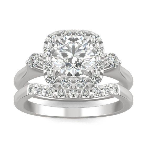 1.67 CTW DEW Round Forever One Moissanite Multi Accent Wedding Set Ring 14K White Gold
