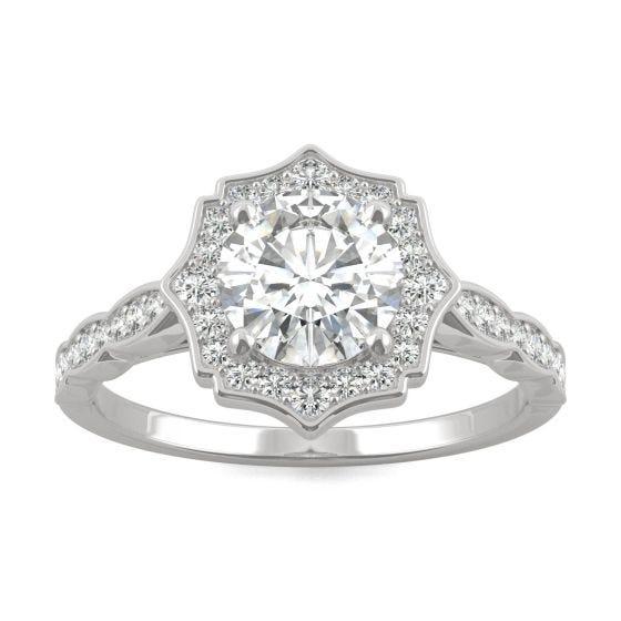 1.28 CTW DEW Round Forever One Moissanite Framed Halo Engagement Ring 14K White Gold