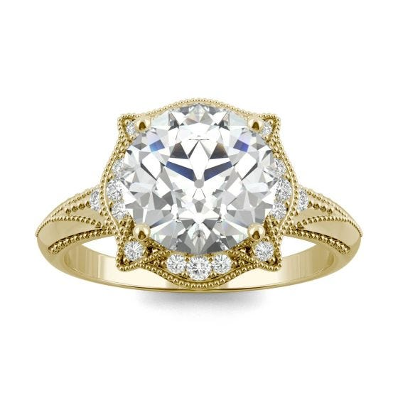 3.05 CTW DEW Round Forever One Moissanite Old European Cut Milgrain Halo Engagement Ring 14K Yellow Gold