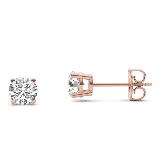 1 CTW Round Caydia Lab Grown Diamond Four Prong Solitaire Stud Earrings 14K Rose Gold Stone Color E
