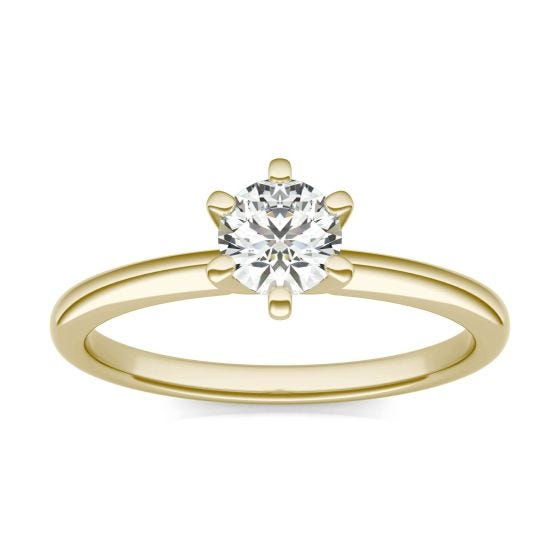 1/2 CTW Round Caydia Lab Grown Diamond Six Prong Solitaire Engagement Ring 14K Yellow Gold