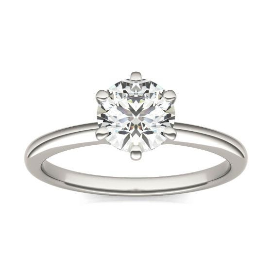 1 CTW Round Caydia Lab Grown Diamond Six Prong Solitaire Engagement Ring 14K White Gold