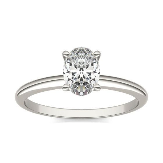 1 CTW Oval Caydia Lab Grown Diamond Solitaire Engagement Ring 14K White Gold