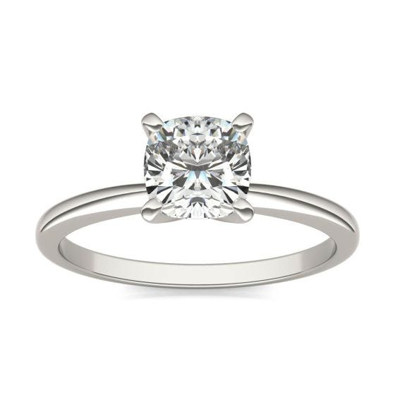 1 CTW Cushion Caydia Lab Grown Diamond Solitaire Engagement Ring 18K White Gold