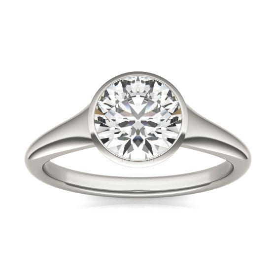 1 1/2 CTW Round Caydia Lab Grown Diamond Signature Tapered Bezel Solitaire Engagement Ring 18K White Gold