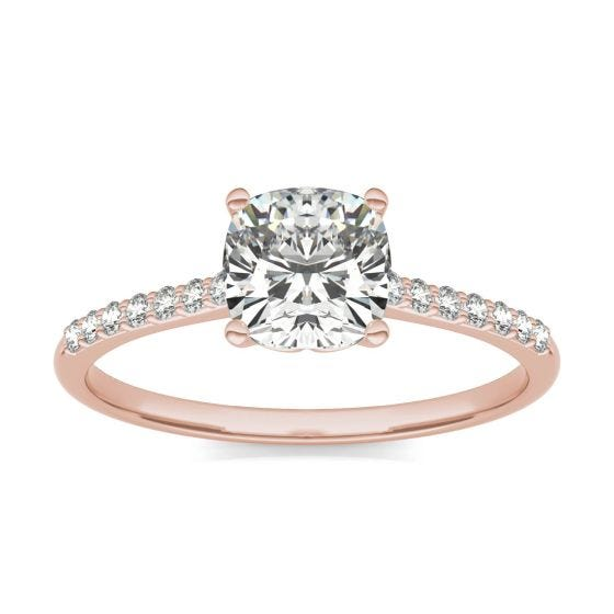 1 1/6 CTW Cushion Caydia Lab Grown Diamond Signature Side Stone Engagement Ring 18K Rose Gold