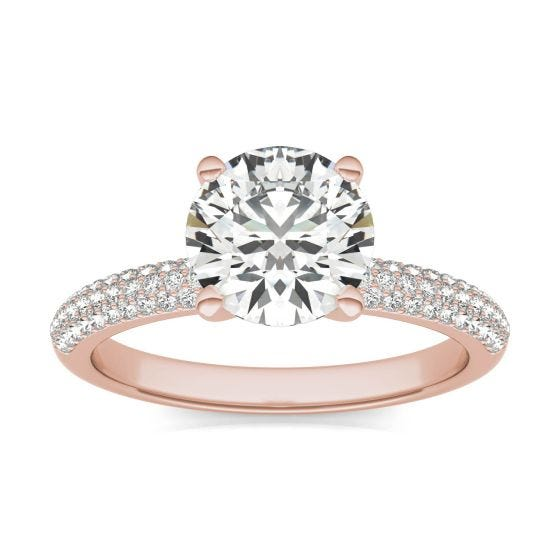 1 3/4 CTW Round Caydia Lab Grown Diamond Pave Engagement Ring 14K Rose Gold