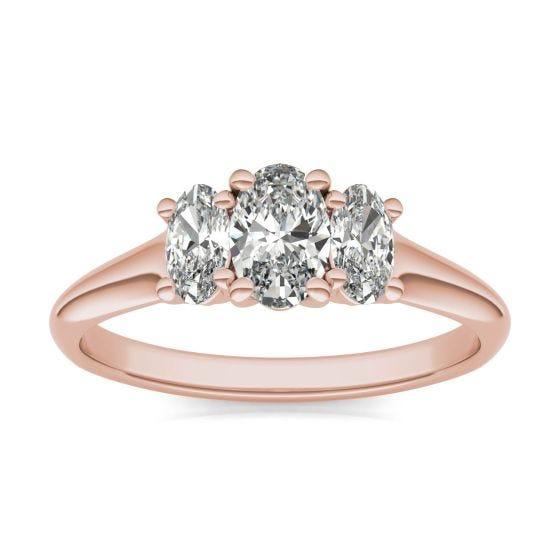 1 CTW Oval Caydia Lab Grown Diamond Three Stone Engagement Ring 18K Rose Gold