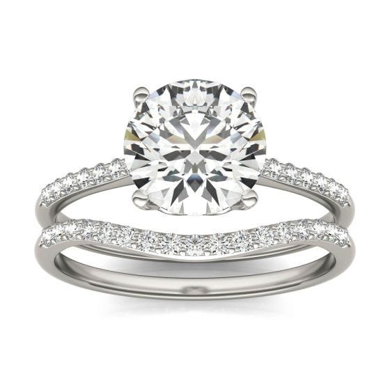 2 1/3 CTW Round Caydia Lab Grown Diamond Signature Bridal Set with Side-Stones Ring 18K White Gold