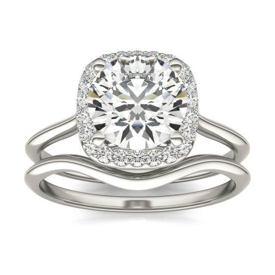 2 3/4 CTW Cushion Caydia Lab Grown Diamond Signature Halo Bridal Set Ring 18K White Gold