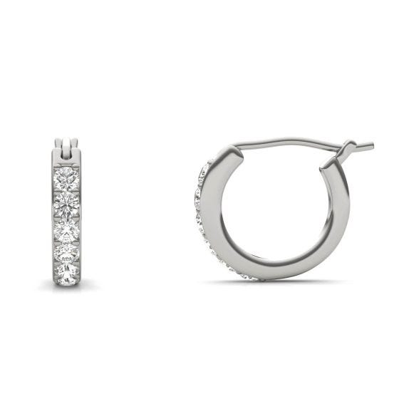 1/3 CTW Round Caydia Lab Grown Diamond Channel Set Huggie Earrings 14K White Gold