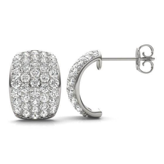 1 7/8 CTW Round Caydia Lab Grown Diamond Five Row Hoop Earrings 14K White Gold