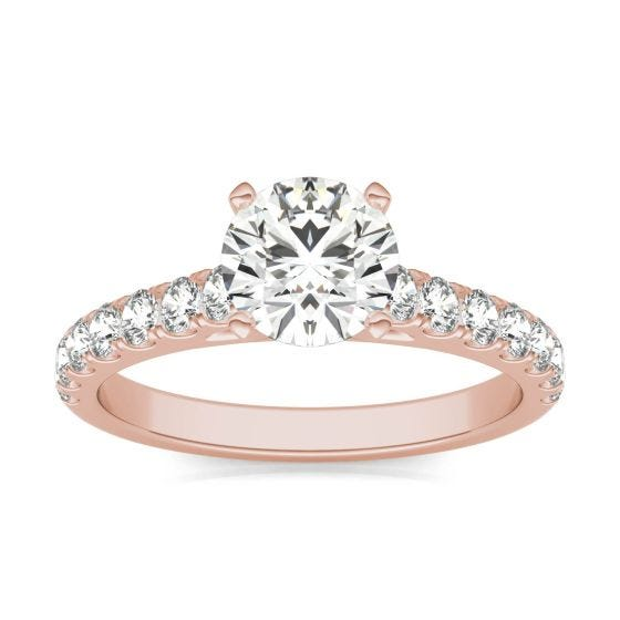 1 CTW Round Caydia Lab Grown Diamond Solitaire with Side Accents Engagement Ring 14K Rose Gold