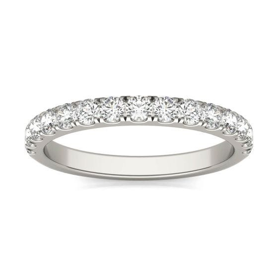 1/2 CTW Round Caydia Lab Grown Diamond Wedding Band Ring 14K White Gold