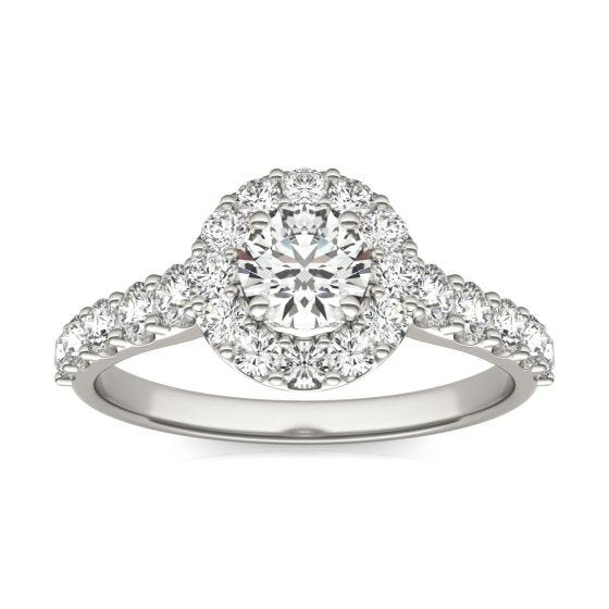1 1/3 CTW Round Caydia Lab Grown Diamond Shared Prong Halo Engagement Ring 18K White Gold