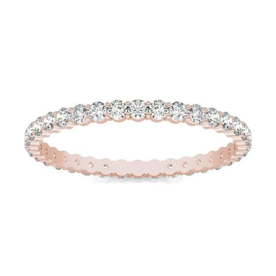 1/2 CTW Round Caydia Lab Grown Diamond Scallop Edge Eternity Band Ring 14K Rose Gold