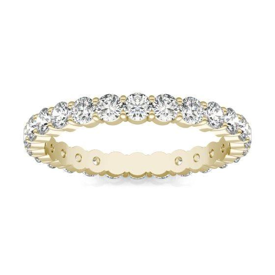 1 2/5 CTW Round Caydia Lab Grown Diamond Scallop Edge Eternity Band Ring 18K Yellow Gold