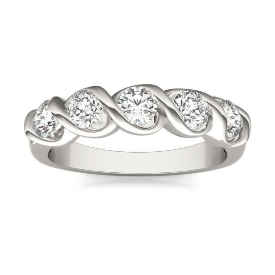 1/2 CTW Round Caydia Lab Grown Diamond Five Stone Twist Anniversary Band Ring 18K White Gold