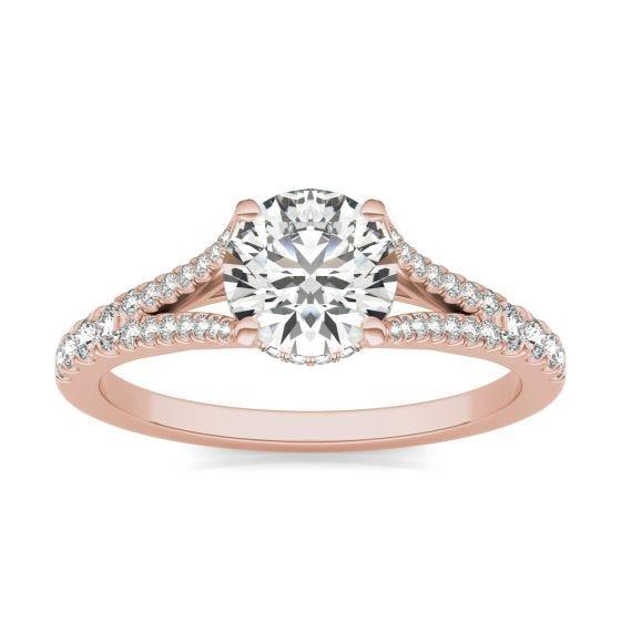 1 1/3 CTW Round Caydia Lab Grown Diamond Split Shank Hidden Halo Ring 18K Rose Gold
