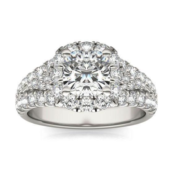 2 3/4 CTW Cushion Caydia Lab Grown Diamond Signature Halo Pave Engagement Ring Platinum