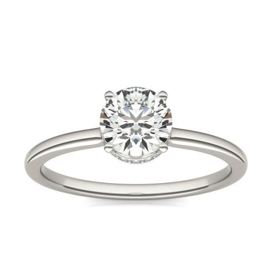 7/8 CTW Round Caydia Lab Grown Diamond Hidden Halo Solitaire Engagement Ring 14K White Gold
