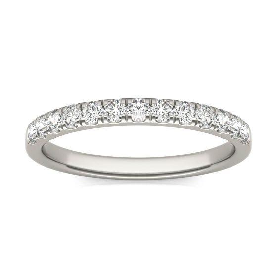 0.29 CTW DEW Round Forever One Moissanite French Set Wedding Band Ring 14K White Gold