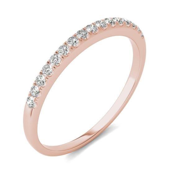 1/6 CTW Round Caydia Lab Grown Diamond Wedding Band Ring 14K Rose Gold   Charles & Colvard