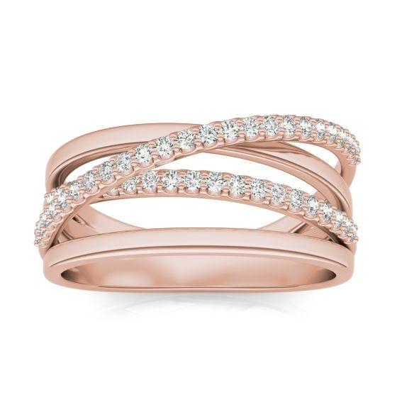 1/3 CTW Round Caydia Lab Grown Diamond Crossover Ring 14K Rose Gold