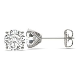 7.20 CTW DEW Round Forever One Moissanite Four Prong Martini Solitaire Stud Earrings 14K White Gold