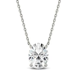 1.50 CTW DEW Oval Forever One Moissanite Solitaire Pendant Necklace 14K White Gold