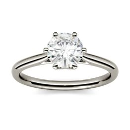 2.70 CTW DEW Round Forever One Moissanite Six Prong Solitaire Engagement Ring 14K White Gold