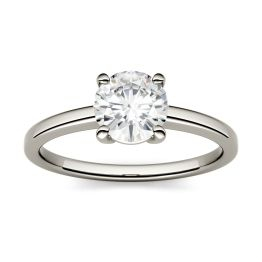 1.00 CTW DEW Round Forever One Moissanite Four Prong Solitaire Engagement Ring 14K White Gold