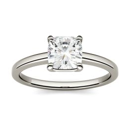 3.30 CTW DEW Cushion Forever One Moissanite Four Prong Solitaire Engagement Ring 14K White Gold