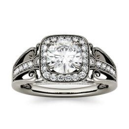 1.28 CTW DEW Round Forever One Moissanite Milgrain Halo with Side Accents Engagement Ring 14K White Gold