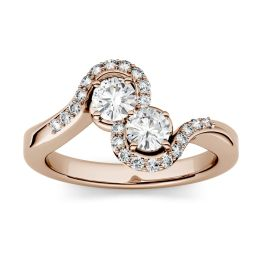 1.18 CTW DEW Round Forever One Moissanite Two Stone Bypass with Side Accents Ring 14K Rose Gold