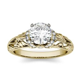 1.17 CTW DEW Round Forever One Moissanite Floral Band Solitaire with Side Accents Engagement Ring 14K Yellow Gold