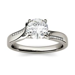 0.63 CTW DEW Round Forever One Moissanite Solitaire with Side Accents Engagement Ring 14K White Gold