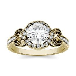 0.76 CTW DEW Round Forever One Moissanite Milgrain Swirl Engagement Ring 14K Yellow Gold
