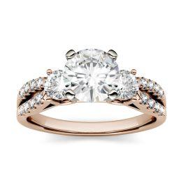 0.98 CTW DEW Round Forever One Moissanite Split Shank Three Stone Ring 14K Rose Gold