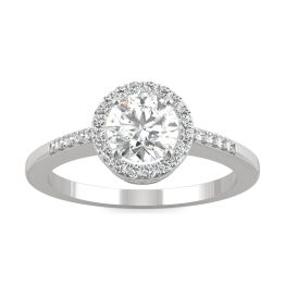 1.01 CTW DEW Round Forever One Moissanite Halo with Side Accents Engagement Ring 14K White Gold
