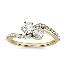 1.24 CTW DEW Round Forever One Moissanite Two Stone with Side Accents Ring 14K Yellow Gold