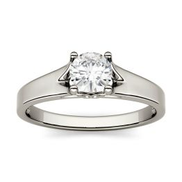 1.00 CTW DEW Round Forever One Moissanite Solitaire Peg Ring 14K White Gold, SIZE 9.0