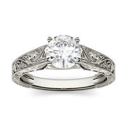 1.50 CTW DEW Round Forever One Moissanite Solitaire with Carved Band Engagement Ring 14K White Gold