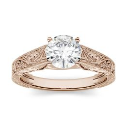 1.90 CTW DEW Round Forever One Moissanite Solitaire with Carved Band Engagement Ring 14K Rose Gold
