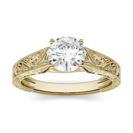 1.00 CTW DEW Round Forever One Moissanite Solitaire with Carved Band Engagement Ring 14K Yellow Gold