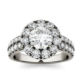 1.78 CTW DEW Round Forever One Moissanite Halo with Side Accents Engagement Ring 14K White Gold